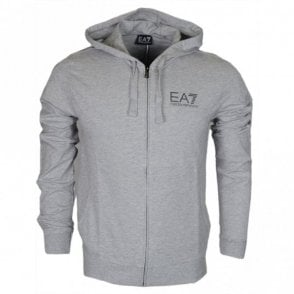 3ZPM59 Funnel Neck Zip Cotton Light Grey Hoodie