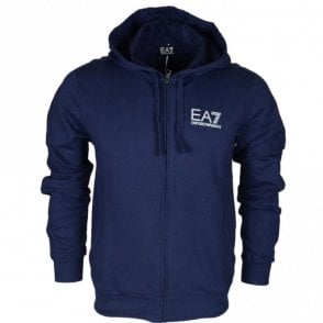 3ZPM59 Funnel Neck Zip Cotton Navy Blue Hoodie