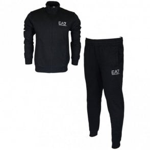 3ZPV51 PJ05Z Funnel Neck Zip Black Cotton Tracksuit