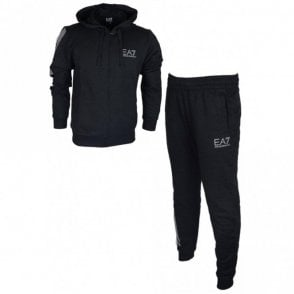 3ZPV64 PJ05Z Hooded Zip Black Cotton Tracksuit