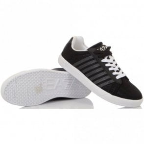 7 Line Canvas Black Trainer