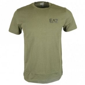 Cotton Plain Printed Stretch Khaki T-Shirt