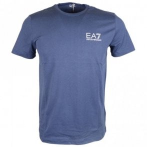 Cotton Plain Printed Stretch Navy T-Shirt