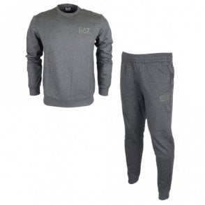 Cotton Plain Round Neck Grey Tracksuit