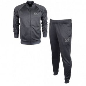 Funnel Neck Zip Black Polyester Tracksuit