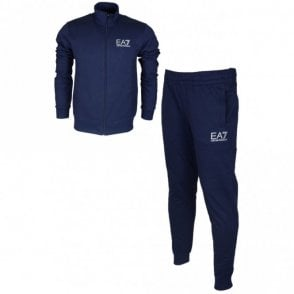 Funnel Neck Zip Dark Blue Melange Cotton Tracksuit