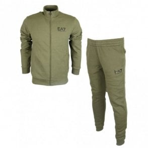 Funnel Neck Zip Forest Green Cotton Tracksuit