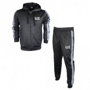 Polyester Hooded Zip Black Tracksuit