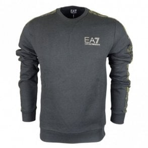 Round Neck Cotton Black/Camo Sweatshirt