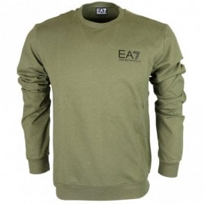 Round Neck Cotton Forest Green Sweatshirt