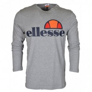 Grazie Long Sleeve Grey Cotton T-Shirt