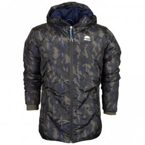 San Puffer Zip Hooded Camo Jacket