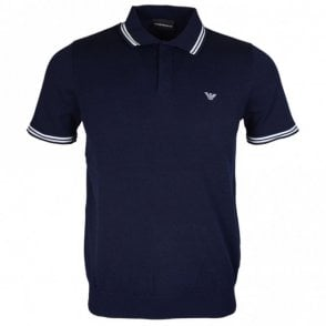 3Z1MY6 Cotton Printed Logo Stretch Navy Polo