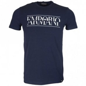 3Z1T86 Cotton Printed Logo Navy T-Shirt