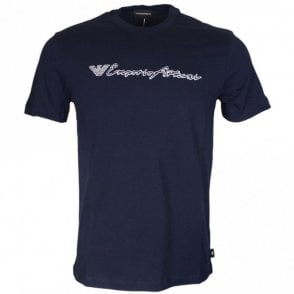 3Z1T96 Cotton Stitched Logo Navy T-Shirt