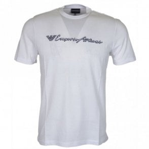 3Z1T96 Cotton Stitched Logo White T-Shirt