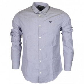 8N1C09 Cotton Piquet Long Sleeve Blue Shirt