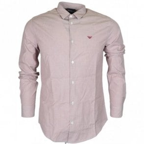 8N1C09 Cotton Piquet Long Sleeve Pink Shirt