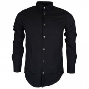 8N1C09 Cotton Stitched Logo Long Sleeve Black Shirt