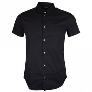 8N1C10 Cotton Stitched Logo Short Sleeve Black Shirt