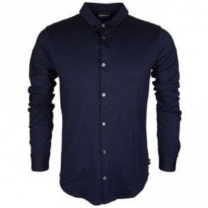 8N1CH6 Cotton Buttoned Down Navy Long Sleeve Polo Shirt