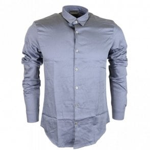 Cotton Piquet Long Sleeve All Over Armani Logo Blue Shirt