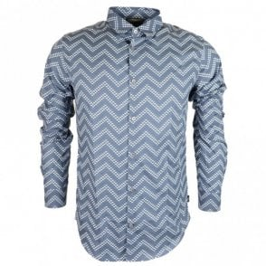 Cotton Piquet Long Sleeve All Over Eagle Blue Shirt