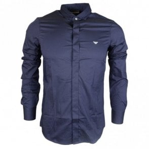 Cotton Piquet Long Sleeve Navy Shirt