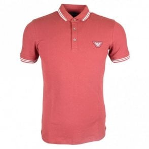 Cotton Printed Logo Stretch Red Polo