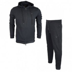 Cotton Zip Up Hooded Black Tracksuit