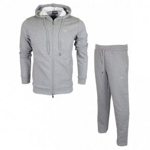 Cotton Zip Up Hooded Grey Tracksuit