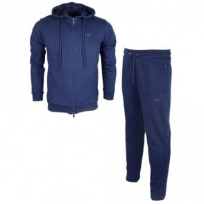 Cotton Zip Up Hooded Navy Tracksuit