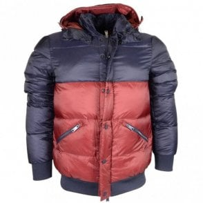 Down Puffer Zip Up Navy/Red Jacket