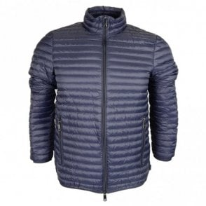 Down Quilted Zip Up Navy Jacket