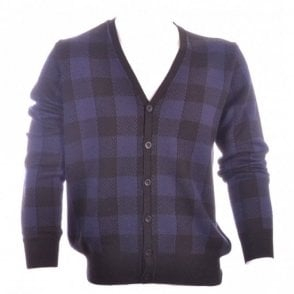 Button Close Blue Check Cardigan