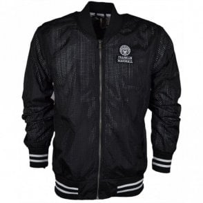 017AN Funnel Zip Black Perforated Nylon Jacket