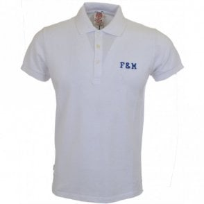 2 button Embroidered Logo White Polo