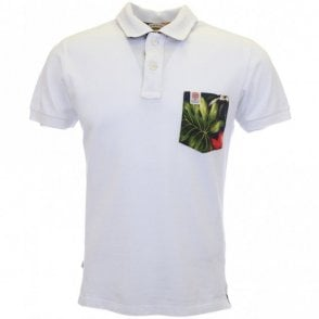 2-button Flower Print White Pocket Polo