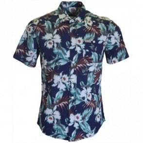 AL328 Hollywood Blue Vintage Flower Shirt