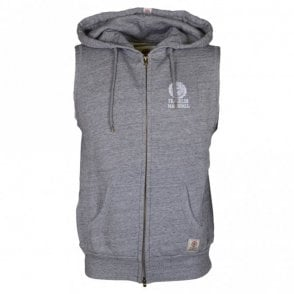 CA107 Cotton Hooded Zip Sport Grey Gillet