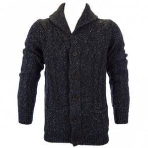 Funnel Neck Wool Black Melange Cardigan