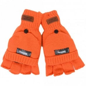 Half Finger Mitten Orange Gloves