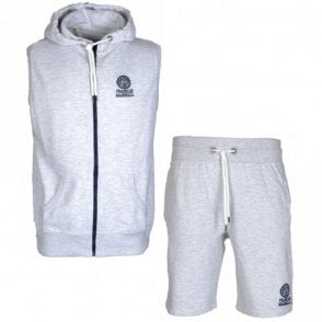 MF050XN Zip Hooded Light Grey Tracksuit with Shorts