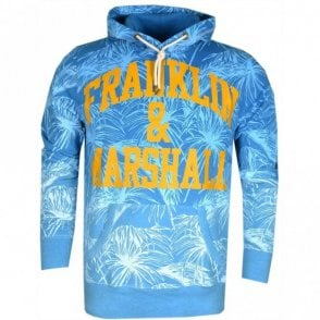 MF081 Flower Print Atlantic Blue Hoodie
