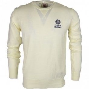 MF120 Cotton Round Neck Crest Logo Milk White Jumper