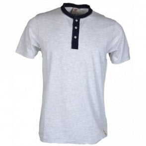 MF202 Button Down Neck Light Grey Melange T-Shirt