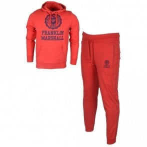 MF252 Hooded Crest Logo Regular Fit Fire Red Tracksuit