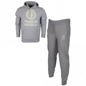 MF252 Hooded Crest Logo Regular Fit Light Grey Melange Tracksuit