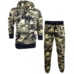 MF304 Hooded Neck Tuta Fleece Camo Tracksuit