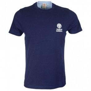 MF354 Cotton Round Neck Sleeve Logo Navy/Sky Blue T-Shirt